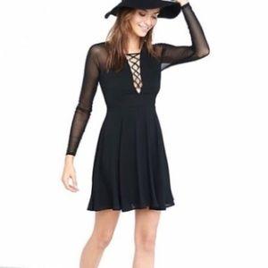 Express Lace Up Sheer Sleeve Skater Dress Black